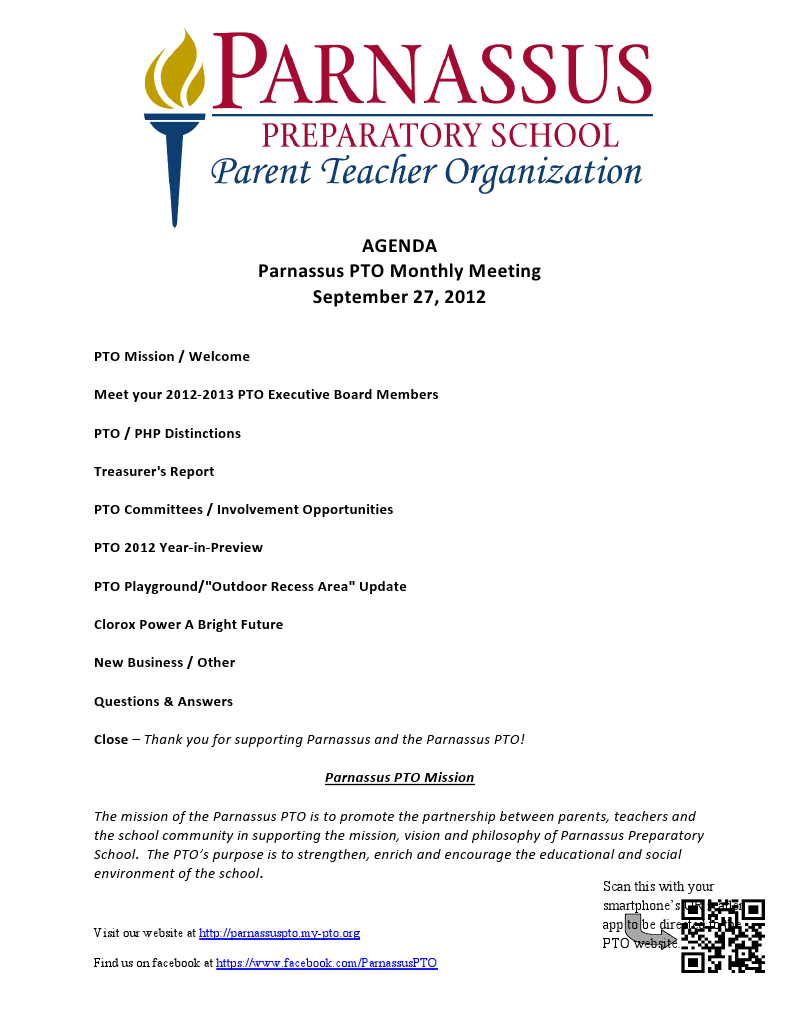 pto meeting agenda sample